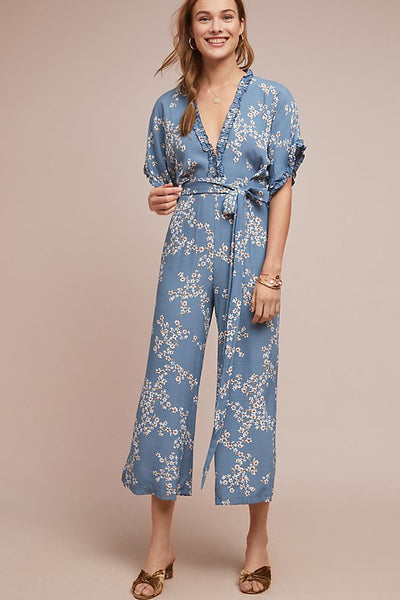 Blue V Neck Lace Jumpsuit S - XL  - Zaida Fashions