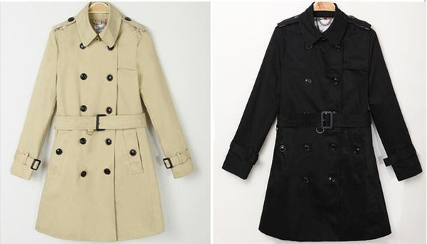 Khaki Black Winter Trench Coat  S - XXL  - Zaida Fashions