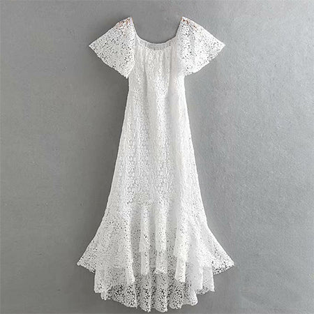 Boho White Short Sleeve Lace Dress S - L  - Zaida Fashions