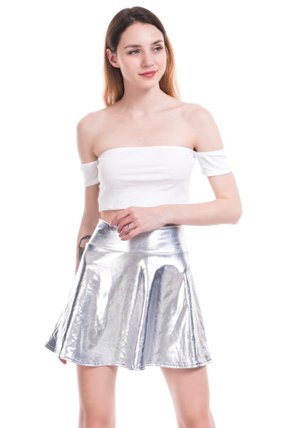 PU Laser High Waist Micro Mini Skirts  - Zaida Fashions