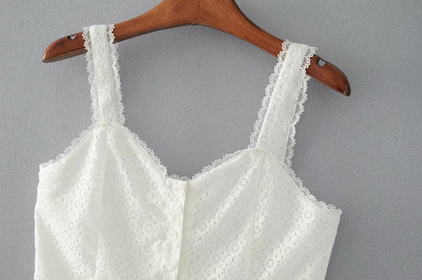 Summer White Lace Camis Tops  - Zaida Fashions