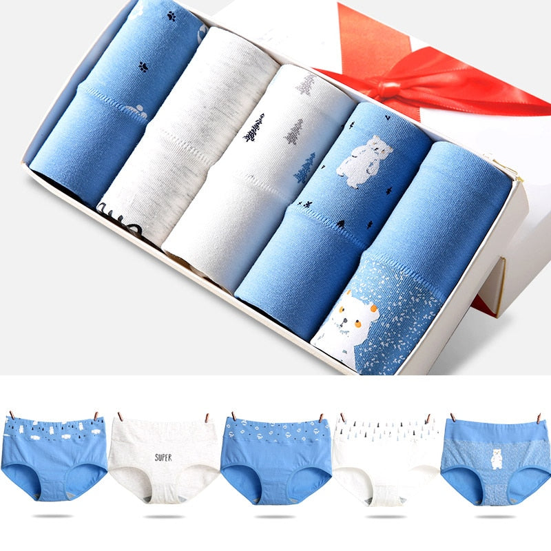 5Pcs Women High Waist Breathable Cotton Underwear M to XXL