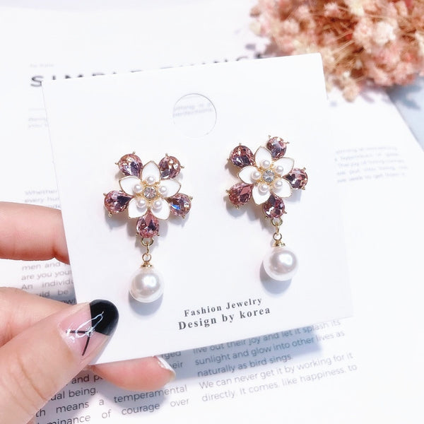 Sweet Pink Rhinestone Flower Dangle Earrings  - Zaida Fashions