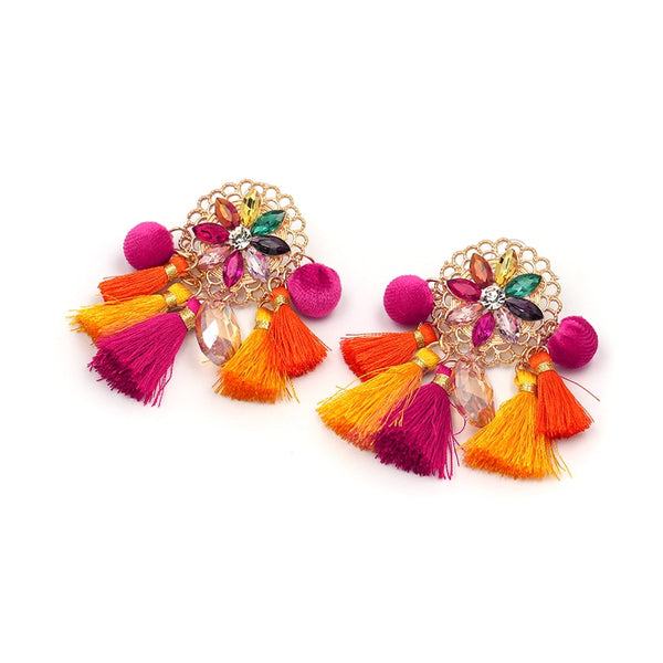 Ethnic Style Tiered Tassel Drop Earring  - Zaida Fashions