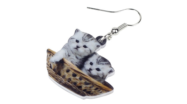Grey Kitten Basket Earrings  - Zaida Fashions