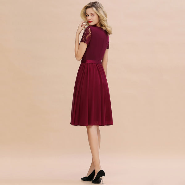 Short Sleeve Burgundy Lace Homecoming Dress  - Zaida Fashions