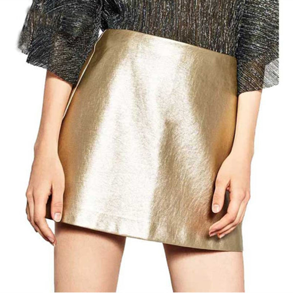 Silver Gold A-Line High Waist Mini Bodycon Skirts  - Zaida Fashions