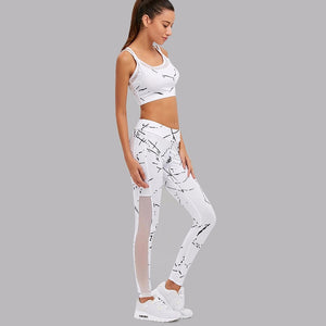 White 2Pcs Sport Top Leggings Set  - Zaida Fashions