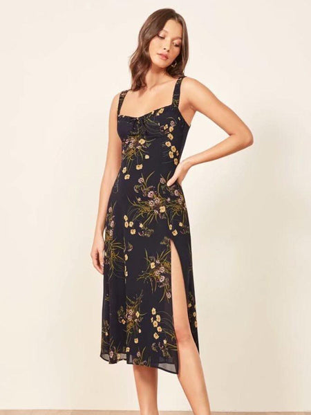 Black Sleevless Floral Printed Midi Party Dress S - L  - Zaida Fashions
