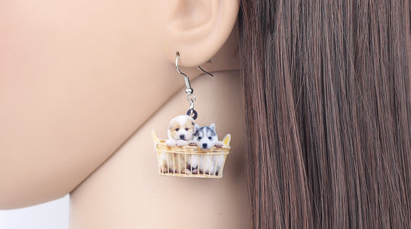 Husky Shih Tzu Puppy Dog Earrings  - Zaida Fashions