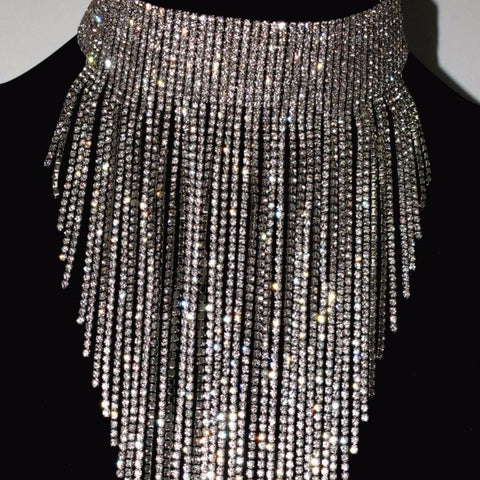 Rhinestone Long Chain Choker Necklace