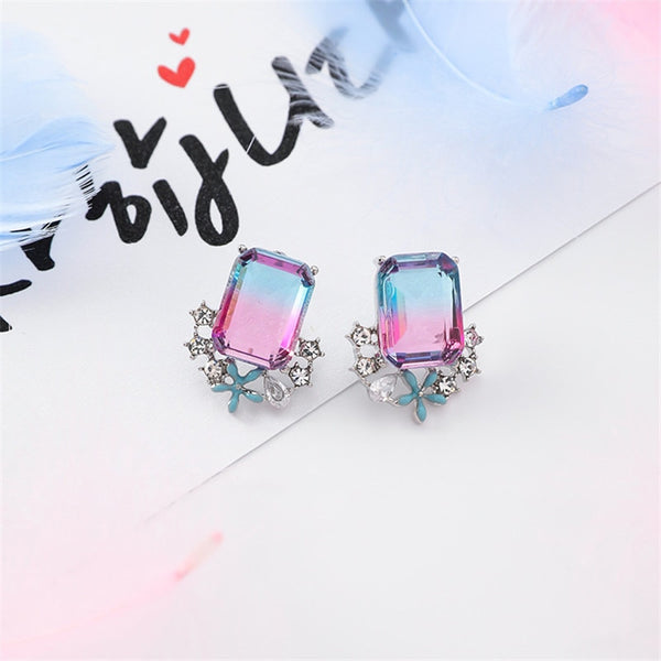 Shiny Rhinestone Square Crystal Drop Earrings  - Zaida Fashions