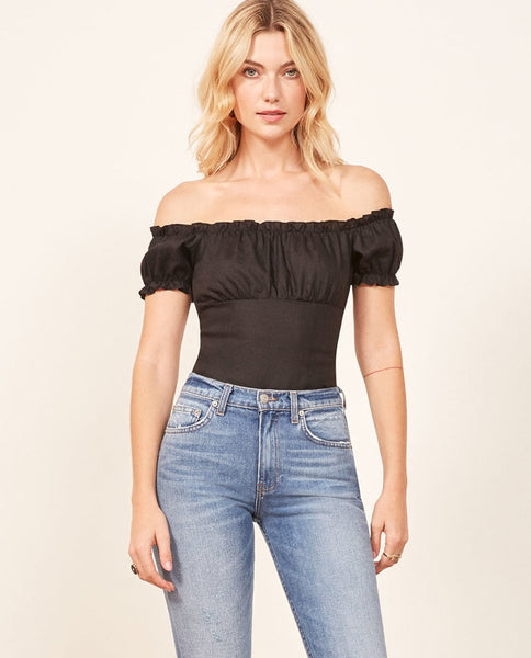 Off The Shoulder Puff Sleeve Tops  - Zaida Fashions