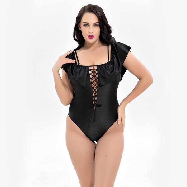 Plus Size Ruffled Vintage Swimsuit  - Zaida Fashions