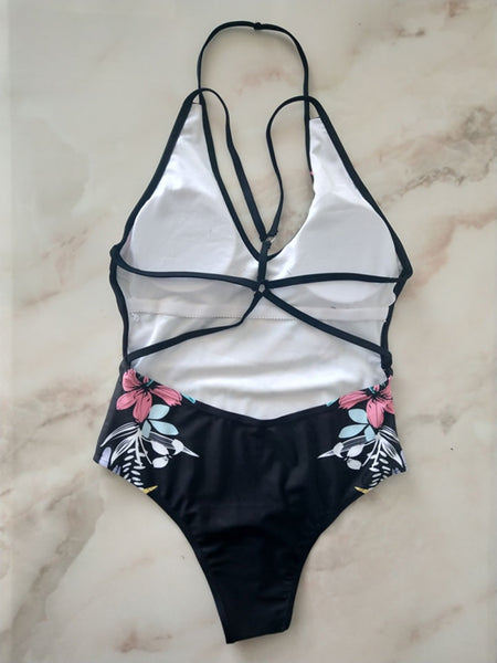 One-piece Floral Print Swimsuit S - L  - Zaida Fashions