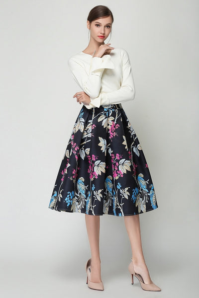 Black Floral Pleated Retro Skirts S - XXL  - Zaida Fashions