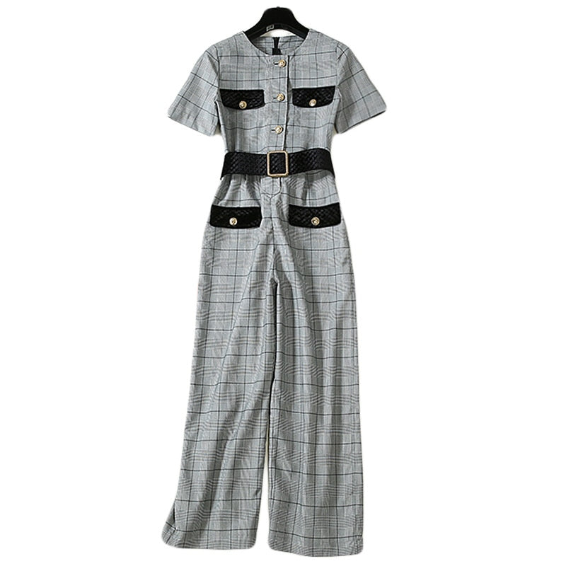 Vintage Casual Grey Jumpsuits S - XL  - Zaida Fashions