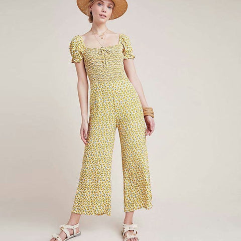 Yellow Short Sleeve Casual Lace Jumpsuit S - L  - Zaida Fashions