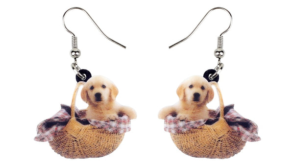 Golden Retriever Dog Basket Earrings  - Zaida Fashions