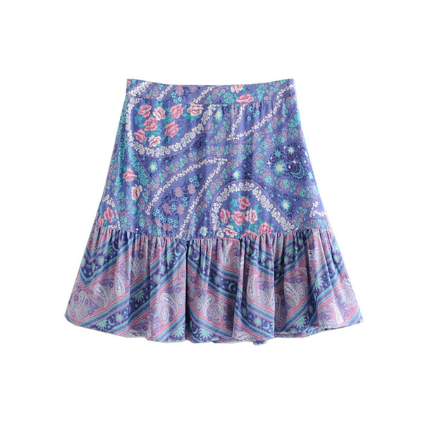 Boho Summer Floral Print Pleated Mini Beach Skirts  - Zaida Fashions