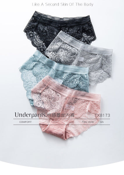 4 Pieces Lace Panties M to XL