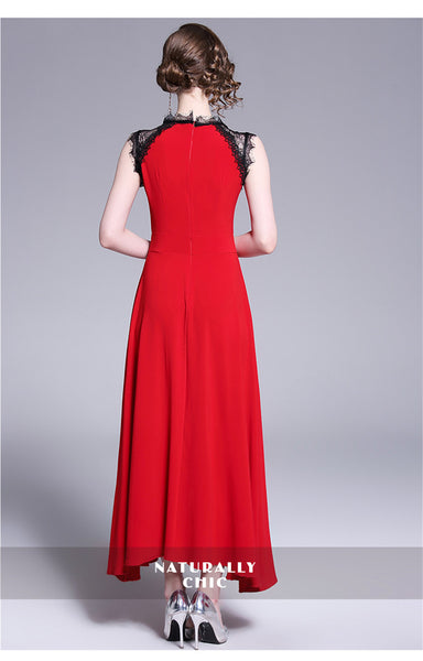 Sleeveless Red Lace Evening Party Dress  - Zaida Fashions