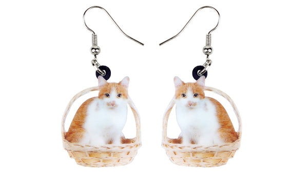 Sweet Kitten Basket Earrings  - Zaida Fashions