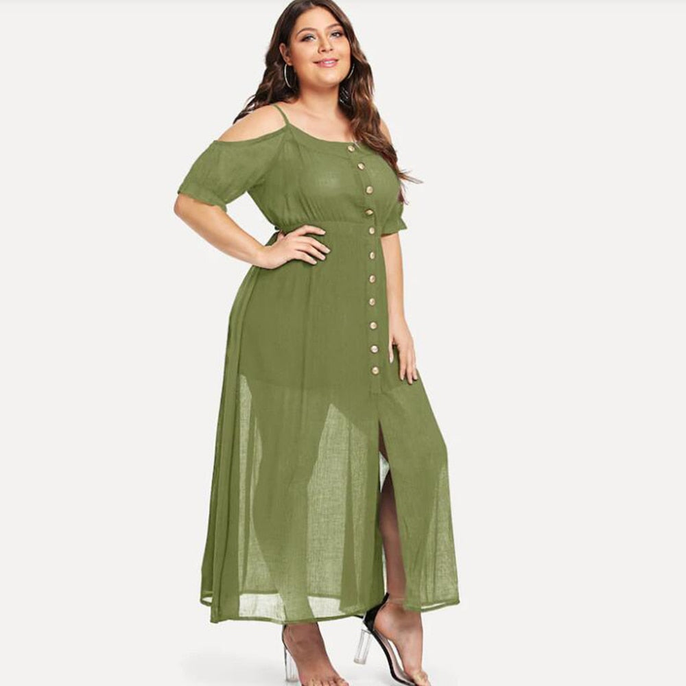 Plus Size Casual Chiffon Maxi Dress – Zaida