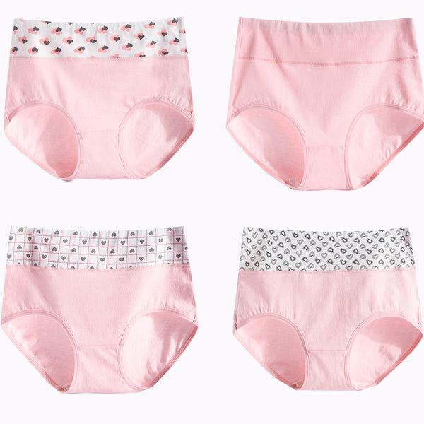 4 Pieces Women Cotton High Waist Panties M to XXL