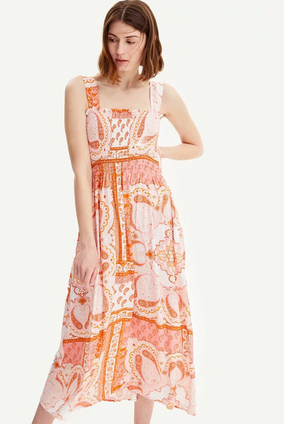 Sleeveless Floral Printed Midi Dress  - Zaida Fashions