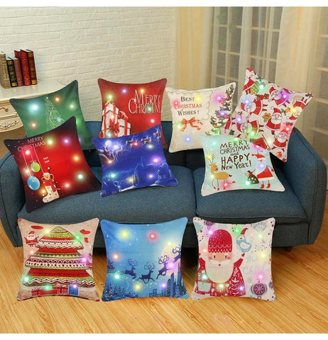 Christmas Cotton LED Decorative Cushion Covers 45x45cm