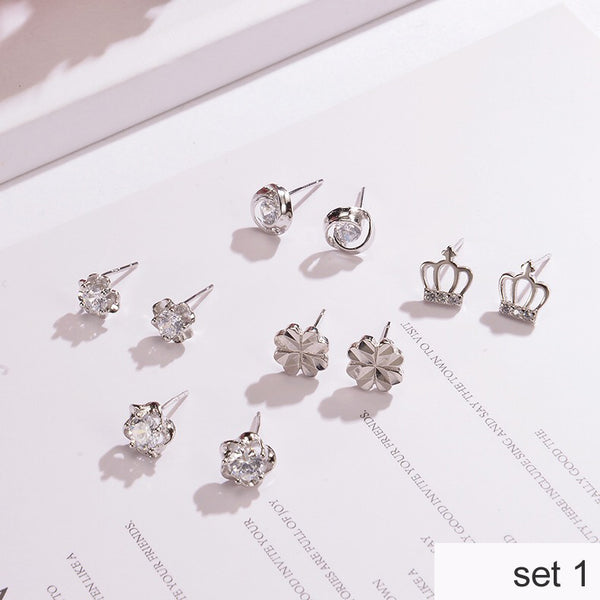 5 Pairs 925 Sterling Silver Stud Earrings with Gift Box  - Zaida Fashions