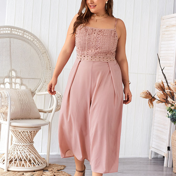 Pink Plus Size Holiday Jumpsuits XL - 4XL  - Zaida Fashions