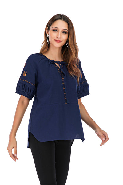 Blue Plus Size Linen Embroidery Floral Tops M-5XL  - Zaida Fashions
