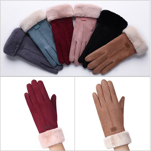 Winter Double Layer Furry Warm Snowflake Embroidery Gloves  - Zaida Fashions