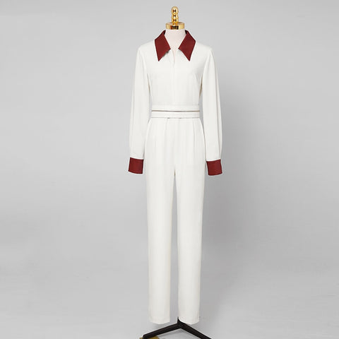 White Long Sleeve Jumpsuits S to XL