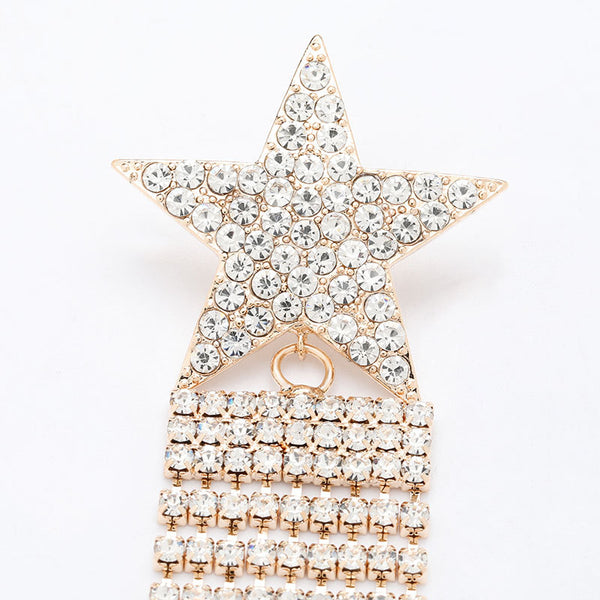 Rhinestone Star Chain Dangle Party Earrings