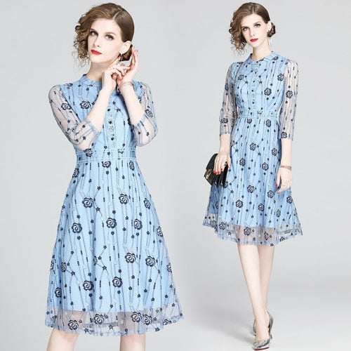 Floral Embroidery Lace Midi Dress S to 2XL
