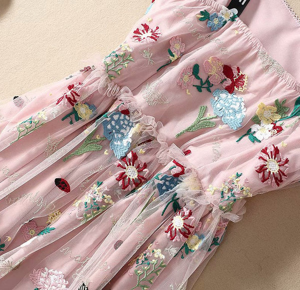 Sleeveless Floral Embroidery Pink Midi Dress S to XL