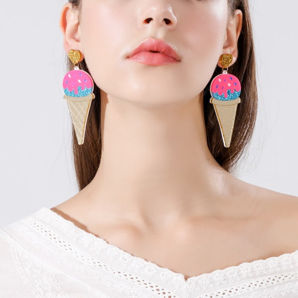 Ice Cream Acrylic Drop Earrings  - Zaida Fashions