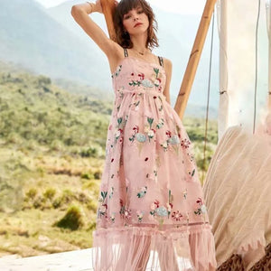Pink Sleeveless Floral Embroidery Midi Dress S to XL