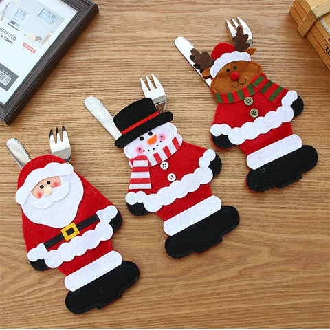 Christmas Table Decorations Santa knife Fork Spoon Cover
