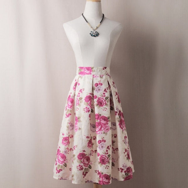 Pink Floral Pleated Skirts S to XL
