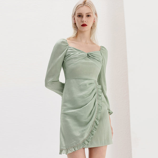 Green Square Collar Full Sleeve Mini Dress S to L