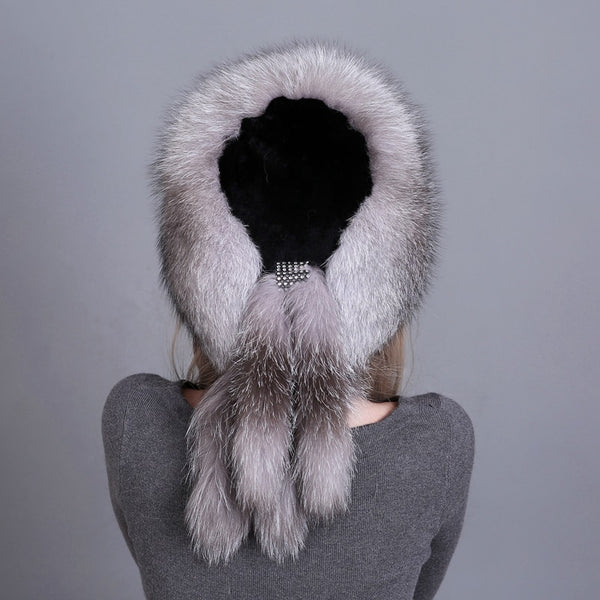 Winter Rex Rabbit Fur Top Bomber Hats  - Zaida Fashions