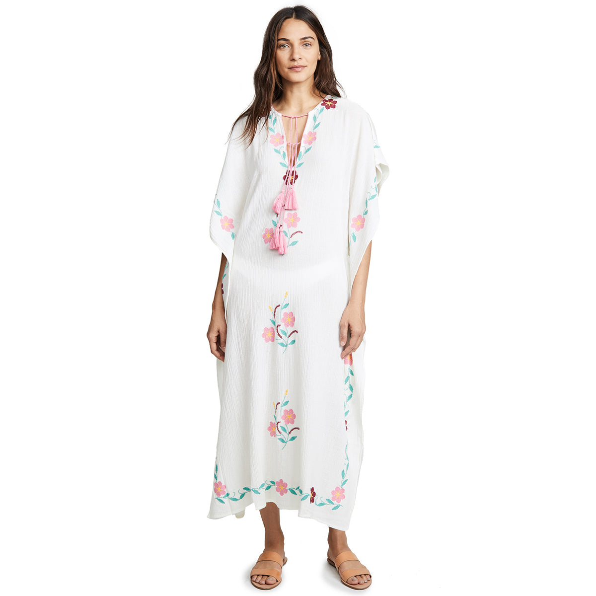 White Floral Embroidery Maxi Beach Dress S to XL