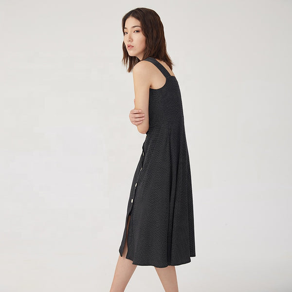 Black Square Collar Sleeveless Dress S to L