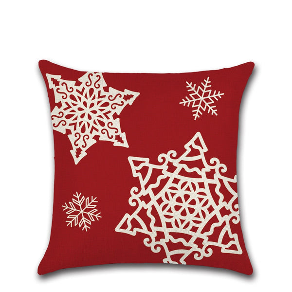 Christmas Reindeer Print Linen Cushion Cover