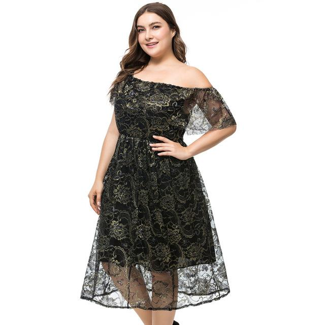 Black Plus Size Off Shoulder Lace Evening Party Dress 3XL - 6XL