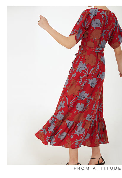 Floral Printed V-neck Sleeveless Red Pleated Dress S to XL